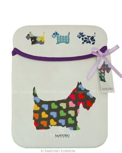 iPad Sleeve - Scottie Dogs - Santoro's Eclectic collection of neoprene covers for Ipad. Fun, smart and washable. £18 on line from santoro
