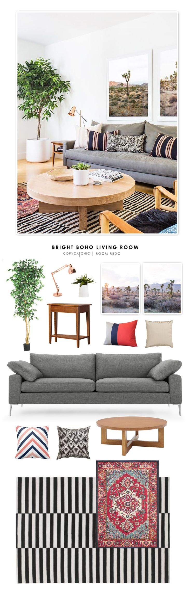 Copy Cat Chic Room Redo Bright Boho Living Room