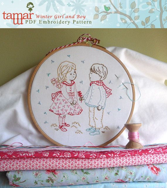 Embroidery Pattern, Digital Paper Design, Instant Download - Winter Girl and Boy