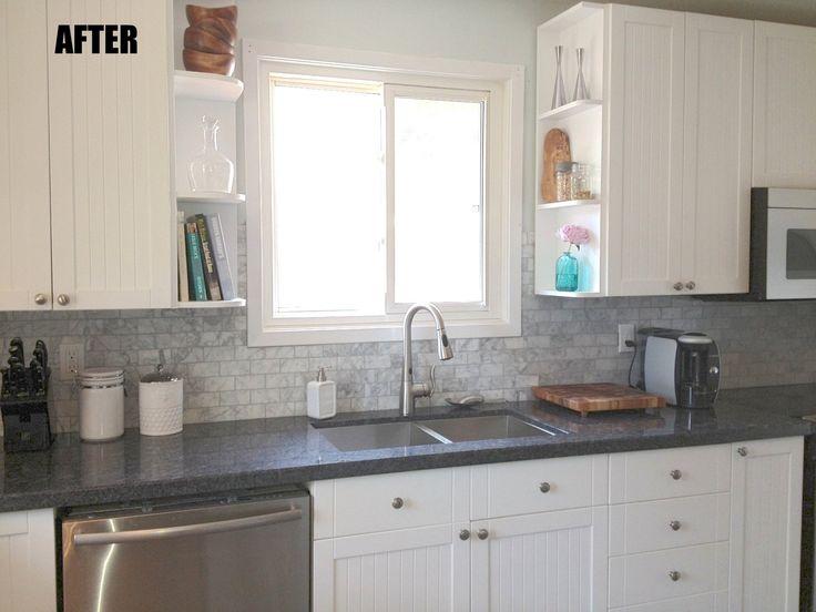 Interesting Grey Backsplash For Interior Kitchen Design Ideas: Dark Grey Granite  Countertop Connected By Stainless Steel Curved Plus Grey Backsplash Part 56