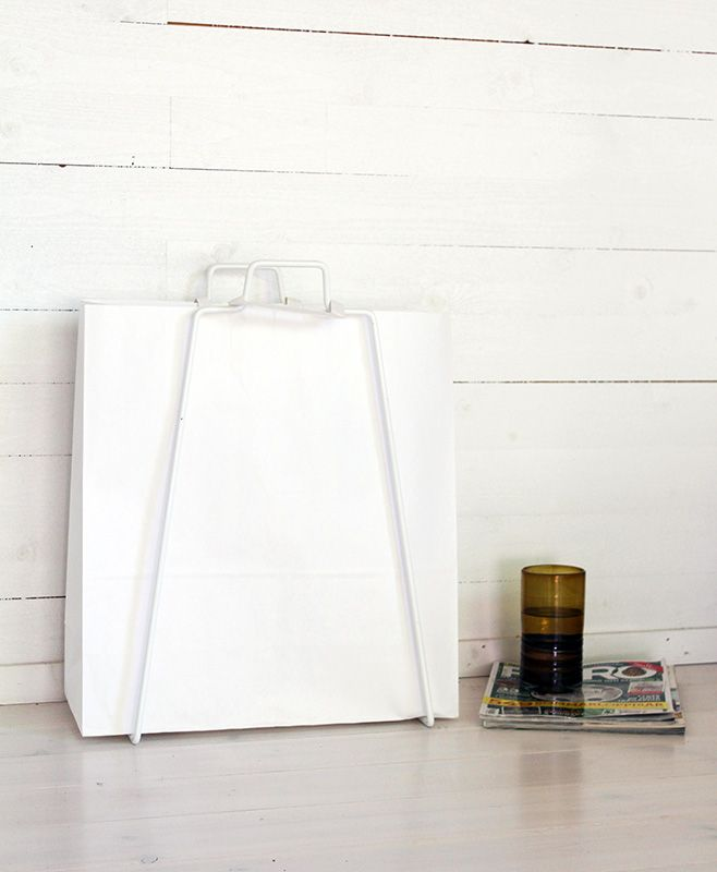 Helsinki paper bag holder in white. Design by Helena Mattila. Made in Finland.