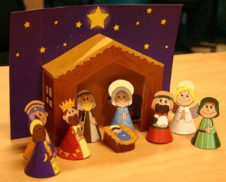 Presépio de Papel para construir ou colorir - Actividades de Natal - Brinquedos de Papel
