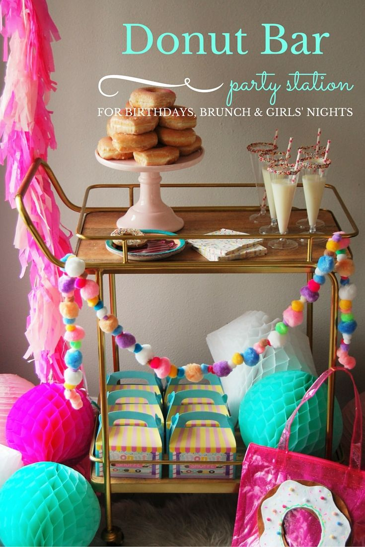 Donuts! What is there not to love about a donut, not to mention how cute they are! Having a donut party is a very sweet way to celebrate birthdays, girls' nights and more! Check out this sweet DIY donut bar idea from @dawnparsons of @Party 'til Dawn. #donut #party