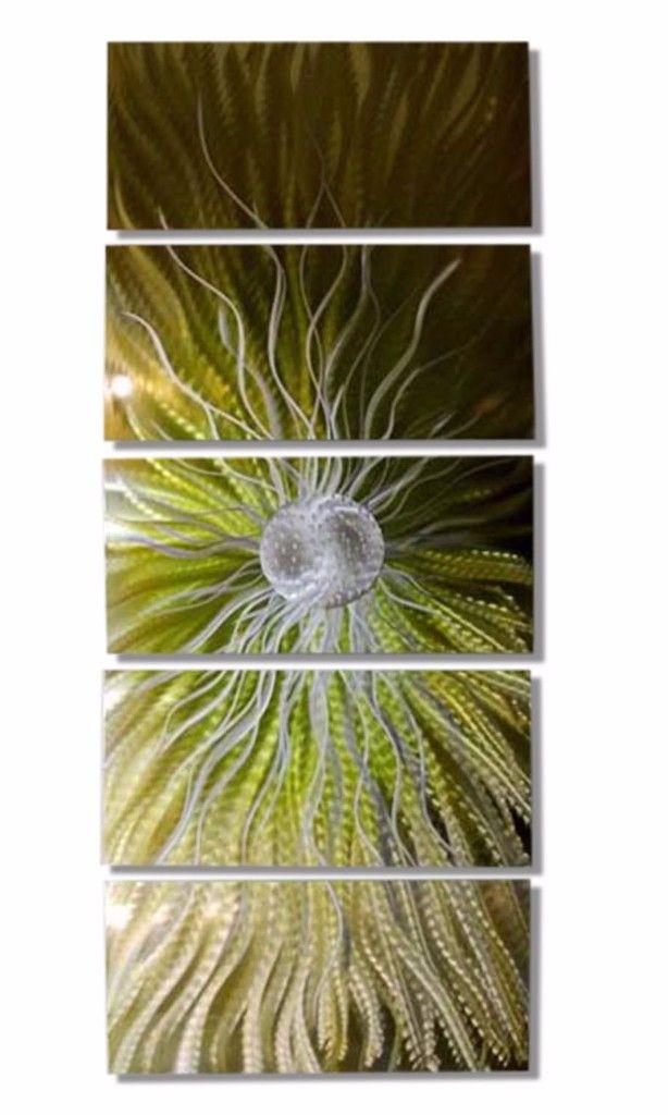 Dreamstate - Modern Metal Wall Art Green/Gold Home Decor by Jon Allen | Interior designing | Nature inspired decorations | modern art | modern | beautiful | #metalwallart #interiordesign https://www.statements2000.com/