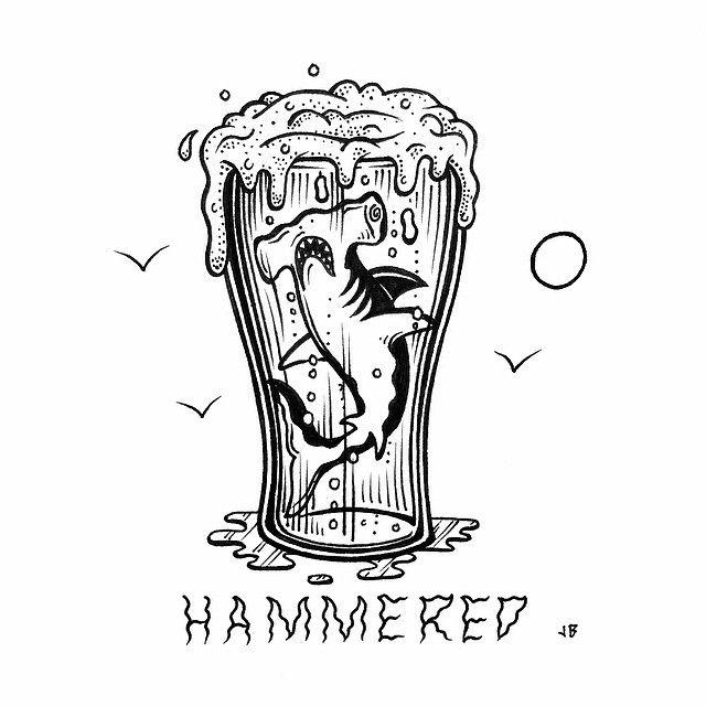 Happy Weekend  Get Hammered jamiebrowneart hammered hammerhead shark…