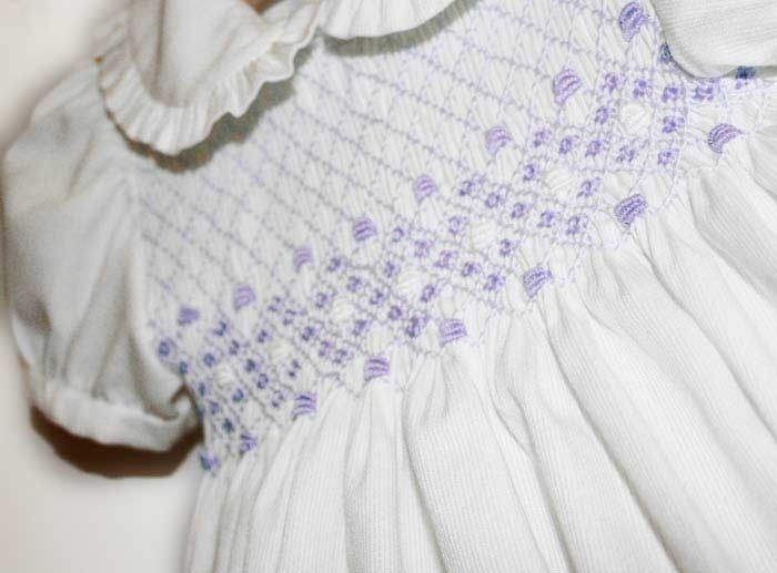 "Smocked romper for babies, boy and girl, , ""Irene"""