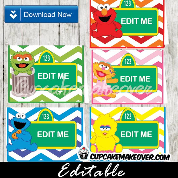Printable Sesame Street Food Labels. Decorate your birthday buffet table with the cutest editable food tents featuring Elmo and friends against a green, red, orange, pink, yellow and blue chevron pattern backdrop. #cupcakemakeover