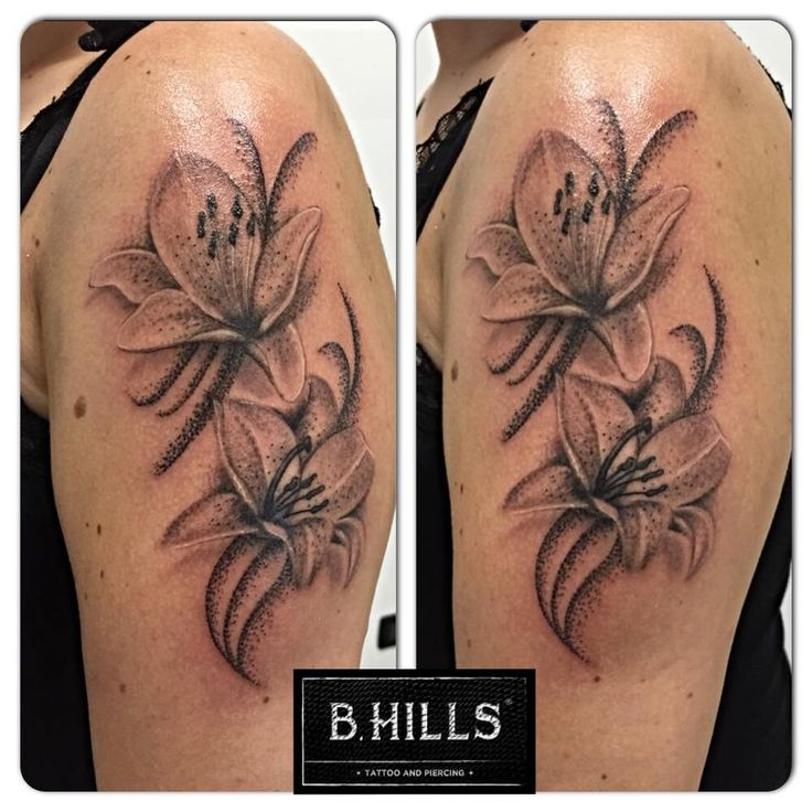 #Realistic #Lilies #shade #blackandgrey #flower #tattoo #ink #art #tattooartist #ladyoktopus