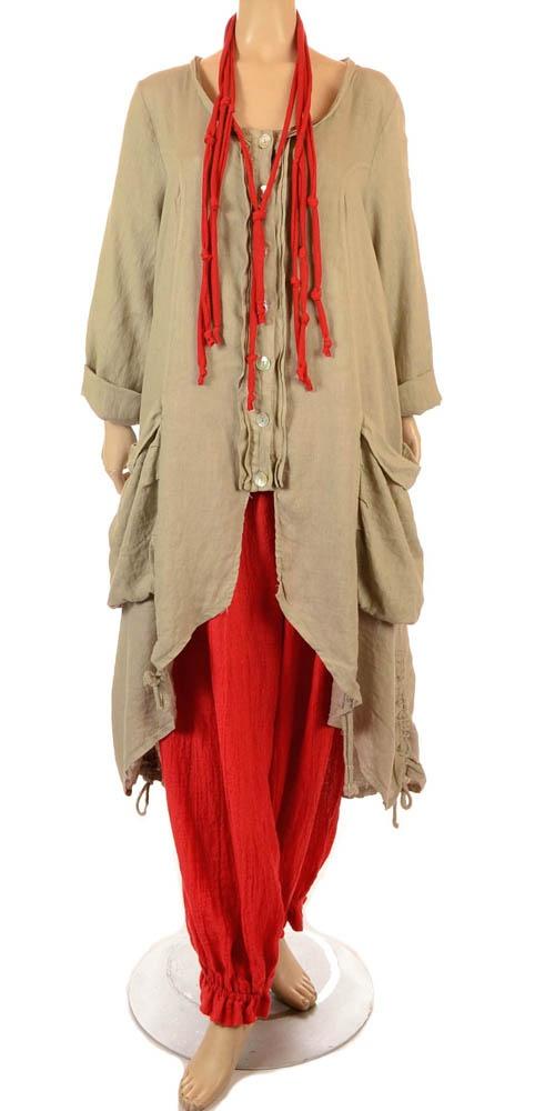 Eden Fab Lagenlook Beige Linen Coat - Summer 2013