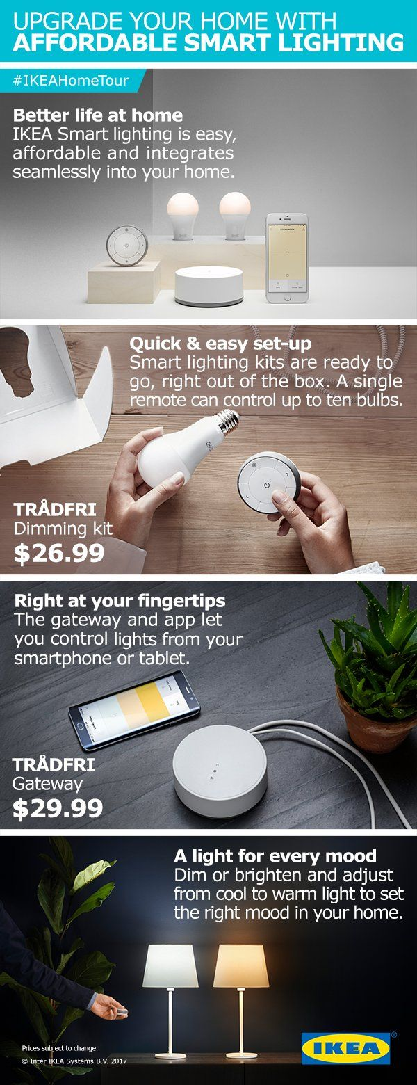 Upgrade your home with affordable smart lighting solutions to create a better life at home. In the most recent IKEA Home Tour Makeover, the Squad used the smart lighting kit to create lighting control at your fingertips from your smartphone or tablet. You can also dim or brighten and adjust the color temperature to set the right mood in your home or space.