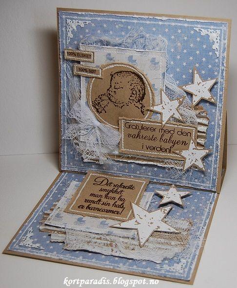 Kortparadis Handmade Håndlaget Scrapping Scrappe NorthStarStamps NorthStarDesign Baby Babycard Babykort