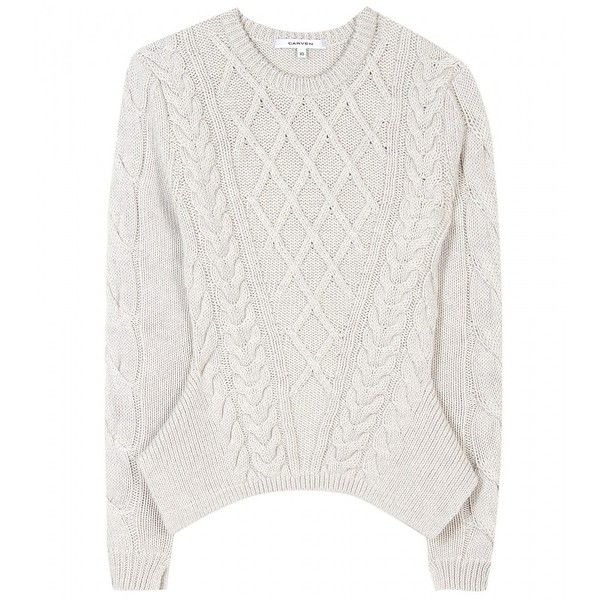 Carven Cable-Knit Wool Pullover (1.945 RON) ❤ liked on Polyvore featuring tops, sweaters, jumpers, long sleeves, mottled grey, gray sweater, long sleeve pullover sweater, gray cable knit sweater, wool pullover i anchor sweater