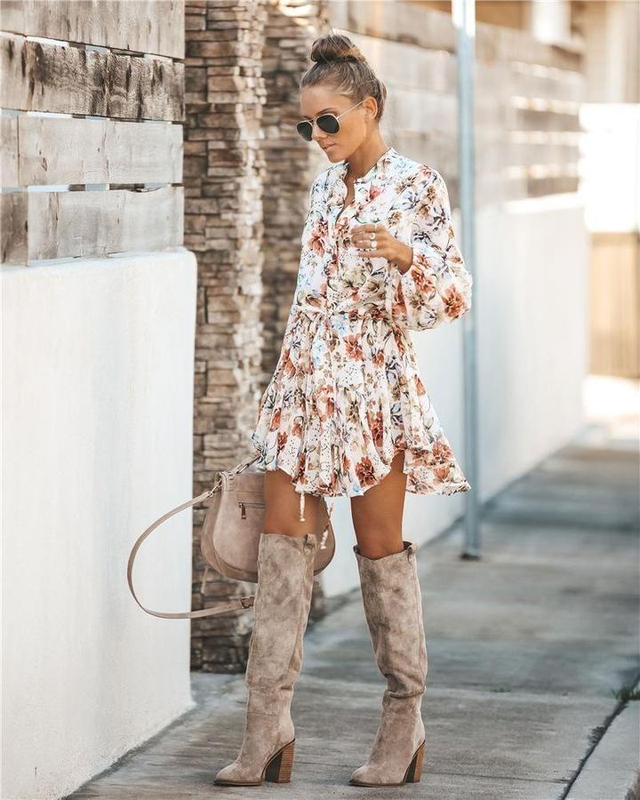 Gardenia Long Sleeve Tie Mini Dress In 2020 Fashion Boho Mini Dress Dresses