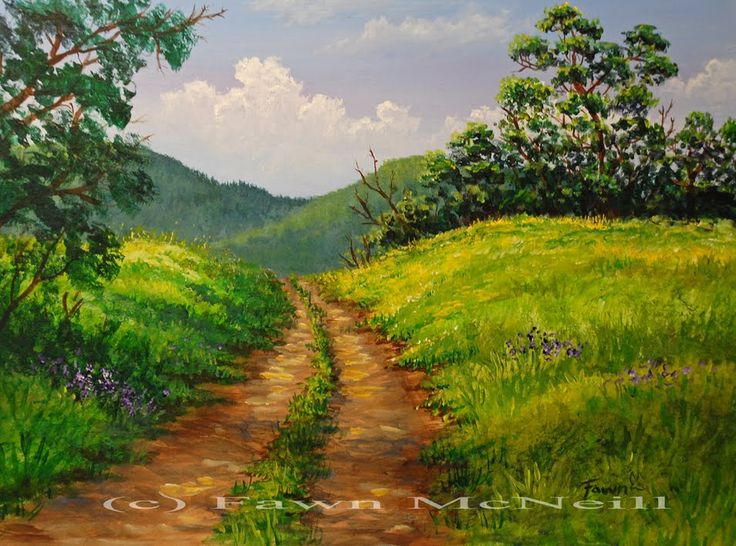 Simple Paintings Mountain Landscape And Landscapes On