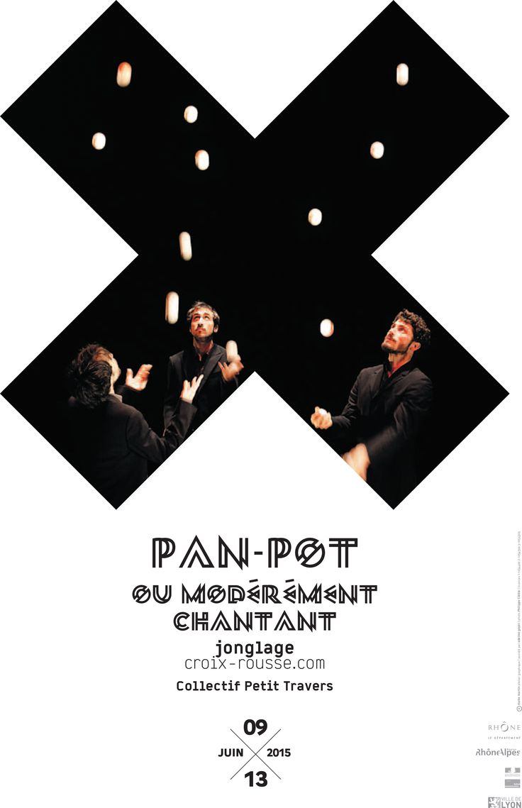 Affiche du spectacle Pan-Pot ou modérément chantant du collectif Petit Travers du 09 au 13 Juin au Théâtre de la Croix-Rousse. © création graphique Malte Martin assisté par Adeline Goyet