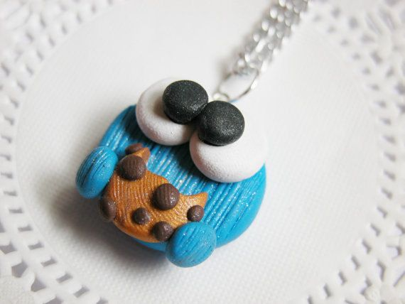 Cookie Monster Pendant Polymer Clay Kawaii Cookie Monster Pendant - Chain NOT included!