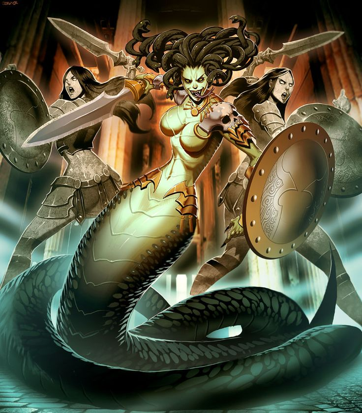 """Stheno  by *GENZOMAN  Stheno (Greek: Σθεννώ, English translation: """"forceful""""), in Greek mythology, was the eldest of the Gorgons, vicious female monsters with brass hands, sharp fangs and """"hair"""" made of living venomous snakes of the python family along with its Euria to him brothers and Medusa, and was characterized by its enormous force. According to the legend, Estheno like their brothers were born from the marine Gods Forcis and Ceto, although other sources says that of Poseidón and Equidna.: Fantasy, Gorgon Medusa, Mythology Stheno Medusa, God, Legends, Female Monsters, Gorgons Stheno, Gorgon Sisters Art, Greek Mythology Photo"""