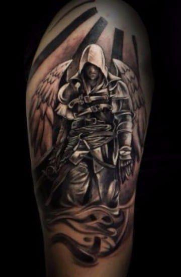 Los tatuajes de angeles guerreros en el brazo son una muestra de la pasión de las personas por la religión y por este arte tan peculiar y original.
