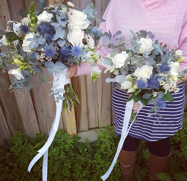 Bridal bouquet and bridesmaid bouquet by Love Alice & CO. featuring french made grosgrain ribbon