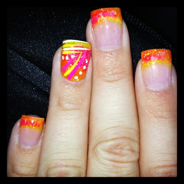 Bright acrylic nail design