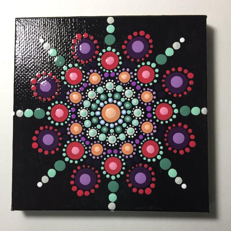 Hand Painted Mandala on Canvas, Mandala Meditation, Dot Art, #379 by MafaStones on Etsy