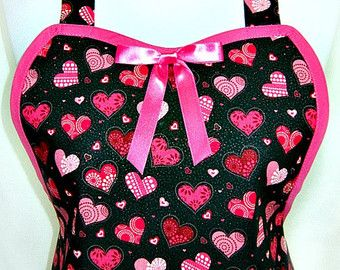 Aprons Mommy & Me RED White Polka Dots RUFFLED Flounce FUN