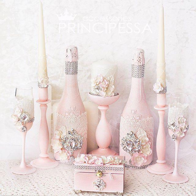"""Свадебный набор """"Пудра"""" (повтор). В набор входит:  свадебные свечи, бокалы…"""