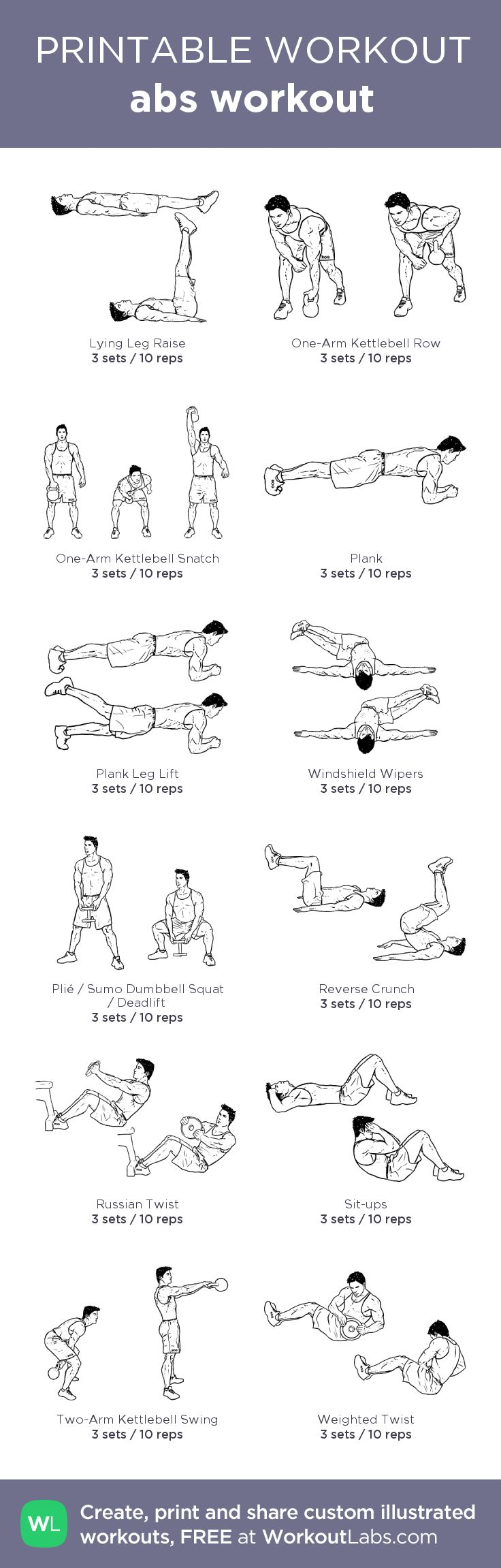 abs workout:my custom printable workout by @WorkoutLabs #workoutlabs #customworkout