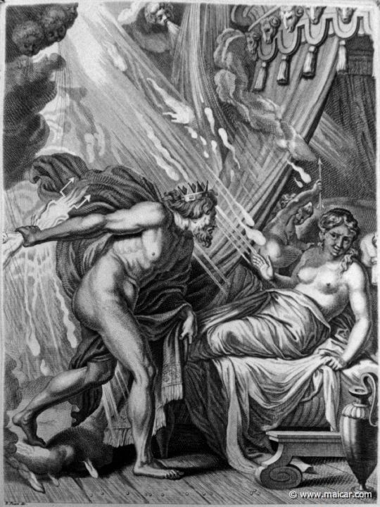The only time Zeus reveals his real self, the poor love interest just dies from his divine shine. Sometimes it sucks to be a god. Print of Zeus and Semele by Bernard Picart (17th-century).