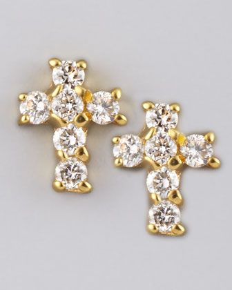 Diamond Cross Earrings, Yellow Gold by KC Designs at Neiman Marcus.