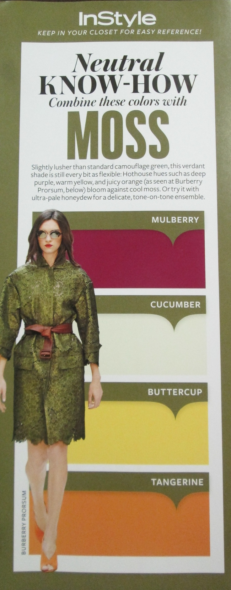 Color blocking - Neutral Know-How for the color Moss