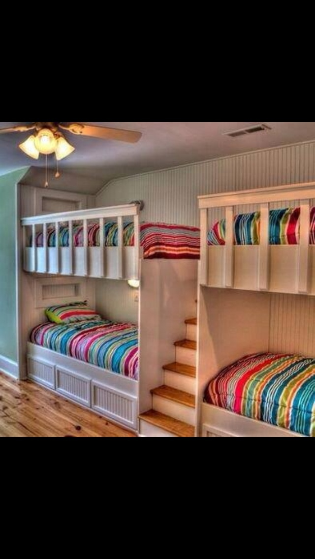 Bunk beds with stairs...love the idea...if you had lots of kids