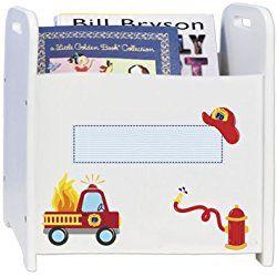 Personalized Child's Firetruck Book Storage Magazine Rack