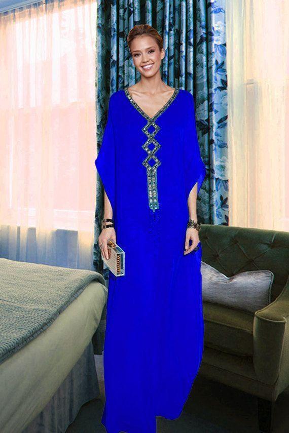 2016 Royal Blue Kaftan V Neck Chiffon Beads Long Sleeve Pakistani Dresses Arabi Dubai Muslim Dress Online with $102.73/Piece on Orient2015's Store | DHgate.com