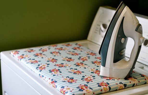 Washer-top ironing board- great space saver!