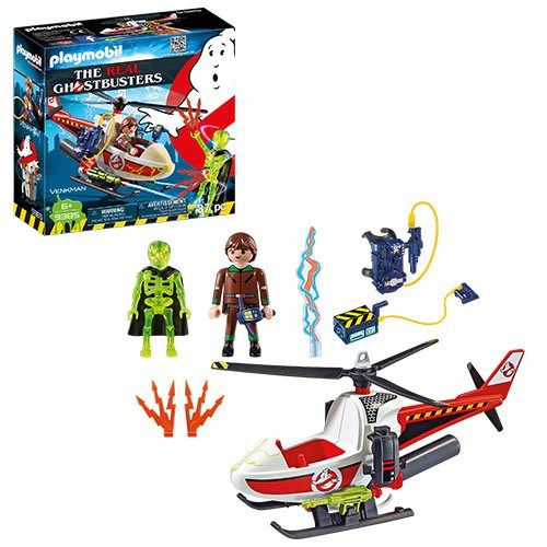 Playmobil 9385 The Real Ghostbusters Venkman with Helicopter - Playmobil - Ghostbusters - Vehicles at Entertainment Earth
