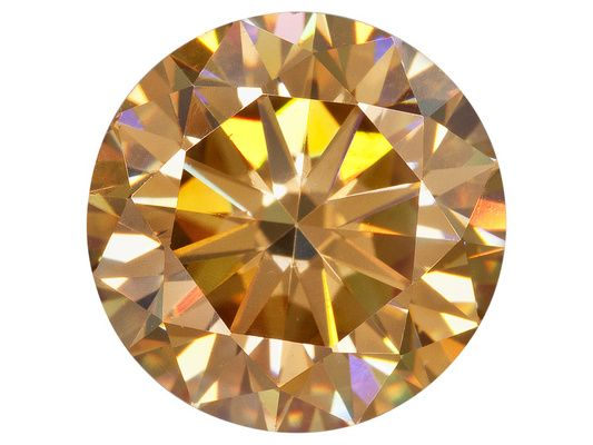 Lab Created Strontium Titanate Champagne Min 3.60ct 9mm Round Diamond