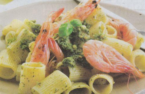 Ricetta di Maniche al Pesto in crosta di gamberi