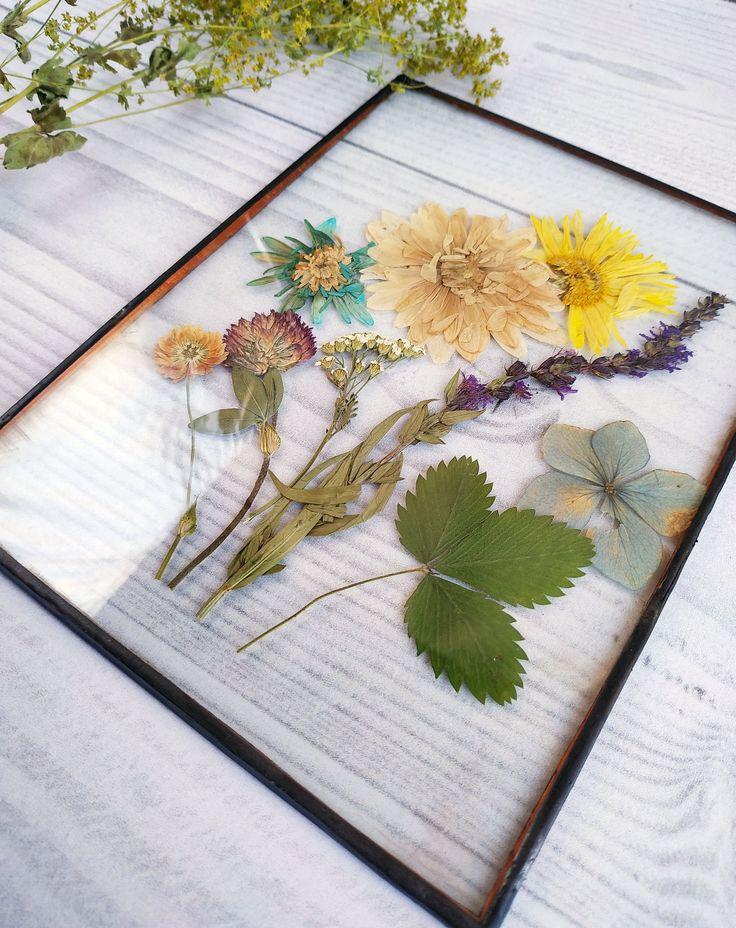 Decor dried flower bouquet frame glass for home decor. Red