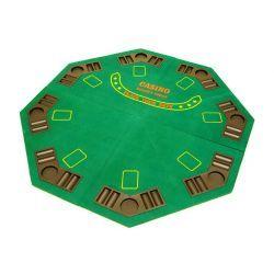 Taitettava pokeripöydän alusta, 54,95€. Alustan ääreen mahtuu 8 pelaajaa samanaikaisesti. Pohja pöydän alusta on puuta, joten  alusta on erittäin vakaa. Taitettavuuden ansiosta pöytä on helposti varastoitavissa. Auki mitat ovat 120 x 120 cm ja merkinnät ovat painatettu alustaan. Alusta on helppo kuljettaa mukana kantolaukussa. Ilmainen toimitus! #pokeripöytä