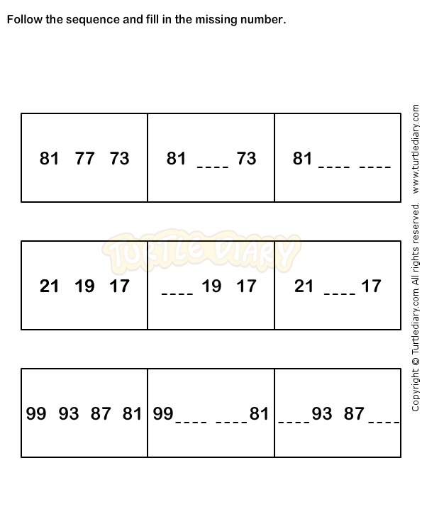 Number Sequence Worksheet 19 math Worksheets grade1 – Math Worksheets Patterns and Sequences