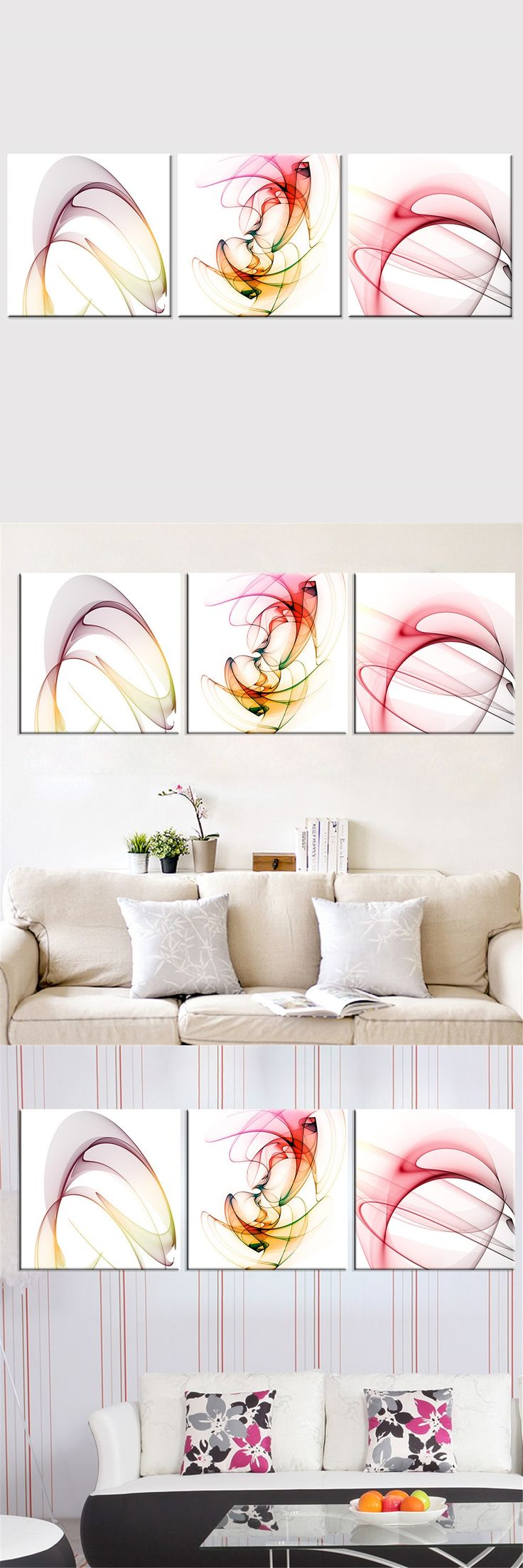 Frameless Abstract Pink Canvas Painting Modular Canvas Art Oil Picture Modern Home Decor Wall Painting for Living Room 3 Pieces