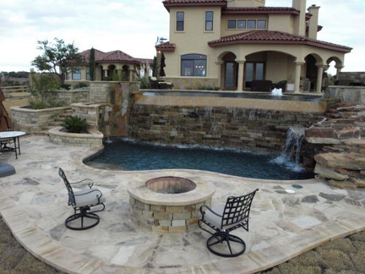 Freeform Simming Pool | Waterfall And Fire Pit | Texas Pools And Patios