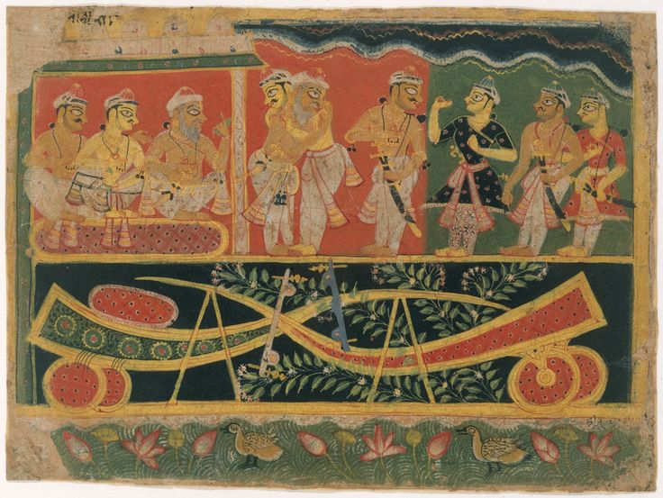 Nanda and Vasudeva: Page from a Dispersed Bhagavata Purana (Ancient Stories of Lord Vishnu) Artist: Master of the Dispersed Bhagavata Purana Period: Early Rajput-Chaurapanchasika style Date: ca. 1520–30 Culture: India (Delhi-Agra area)