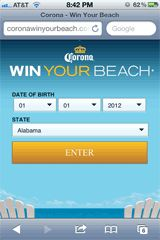 Corona Win Your Beach - Mobile Landing Page Example