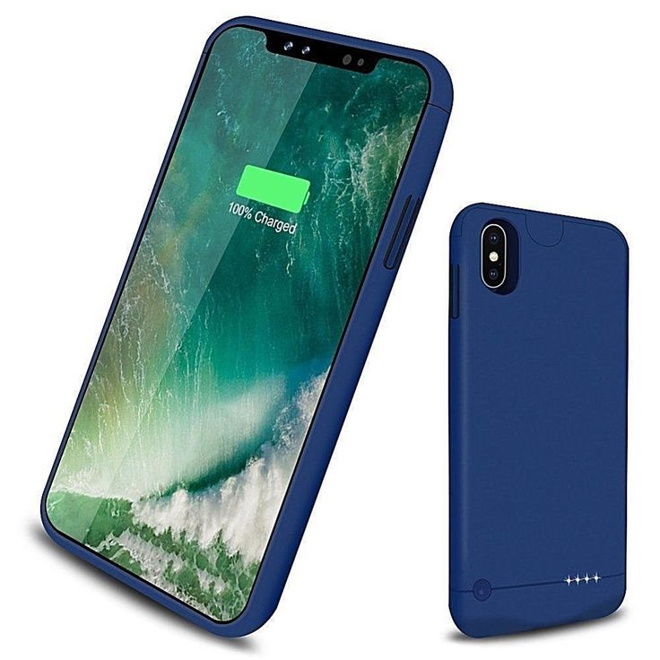 Iphone X Battery Case 5200 Mah Rechargeable External Power-Bank 5.8 In.Blue New #DealsToday