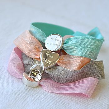 personalised silver and pastel stretch bead bracelet by lily belle | notonthehighstreet.com