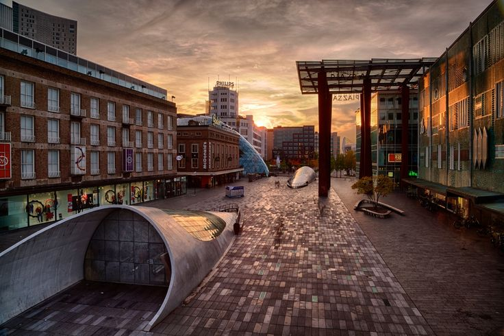 Cloudy sunset on Eindhoven Piazza by Ludovico Verducci