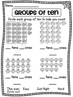Place value practicing making groups of ten to help count