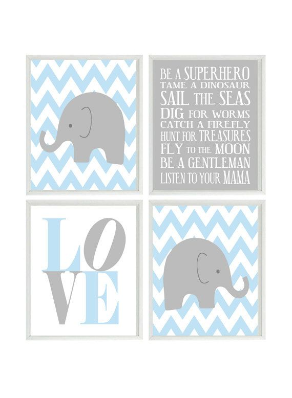 Nursery Art Elephant Chevron Baby Boy Nursery Prints, Gray Light Blue Wall Art  Love -  Nursery Decor Playroom Rules Quote - 4 8x10